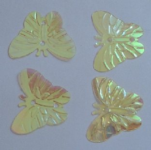 DISCONTINUED 22mm Iridescent Effect Butterfly Sequins. Pale Yellow x 150.